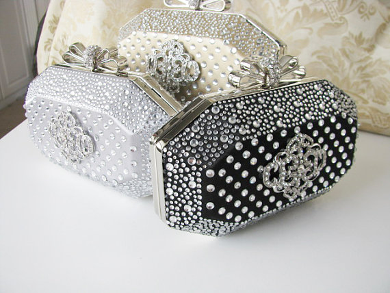 Hochzeit - Hard Case Fabric Wedding Bag Clutch Formal Evening Bag with  Crystals and choice of colors