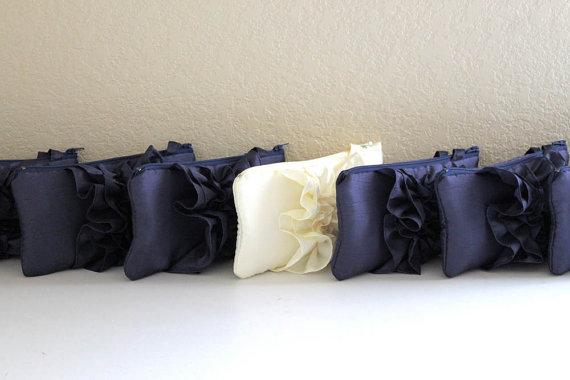 Mariage - SET OF 7 Custom Bridesmaids Clutches- Bridesmaids Rehersal Party Gift Idea- Fairy Tale Wedding Clutch- Navy Ivory And More