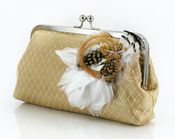 Hochzeit - Gold Bridesmaids or Bridal Clutch with Rhinestone Feather Brooch 8-inch PASSION