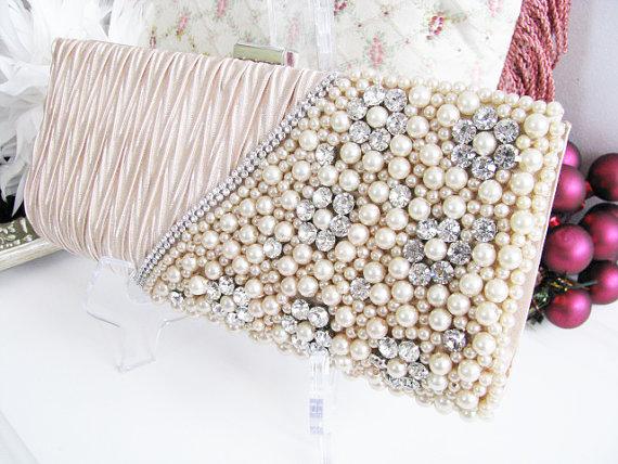 Hochzeit - 2 Tone Cream color Satin Pearl Rhinestone Bag, Necklace Wedding Bridal Bag Clutch Formal Wear