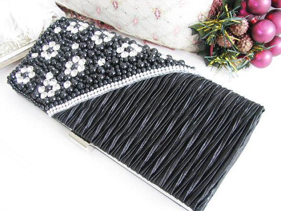 Свадьба - Black Satin Pearl Rhinestone Bag,Necklace Wedding Bridal Bag Clutch Formal Wear