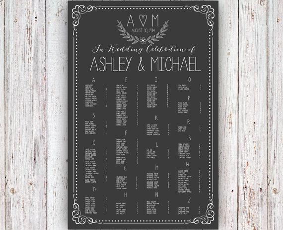 Hochzeit - Wedding Seating Chart -  RUSH SERVICE - Wreath Chalkboard Theme Wedding Seating Chart Reception Poster - Digital Printable File - HbC126