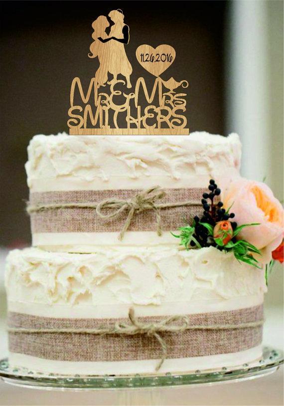 زفاف - silhouette personalized wedding cake topper, mr and mrs wedding cake topper with heart decor, disney cake topper, rustic wedding cake topper
