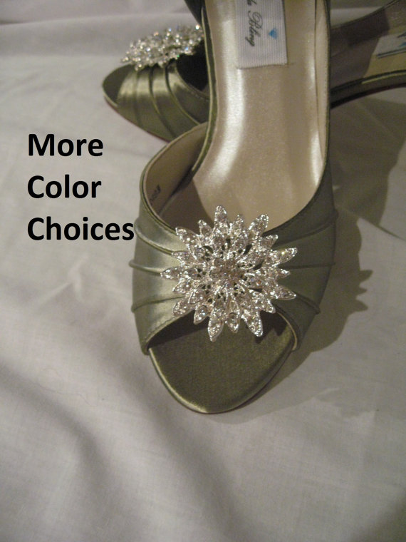 Wedding - Wedding Shoes Sage Green Wedding Shoes with Rhinestone Flower Burst Additional 100 Colors To Pick From