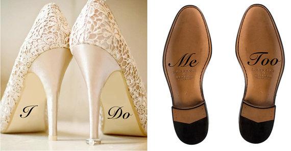 Custom Wedding Shoe Decal Bride And Groom I Do Me Too Decorations