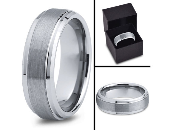Свадьба - Mens Wedding Band Cobalt 7mm Brushed Handmade Unique Beveled Edge Men's Ring Bands Comfort Fit His Designer Him Size Set Anniversary Custom