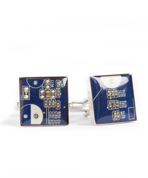 زفاف - Circuit board Cufflinks - modern cufflinks - palladium plated, resin