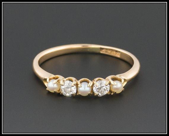 Vintage Pearl Diamond Ring 14k Gold Wedding Stacking