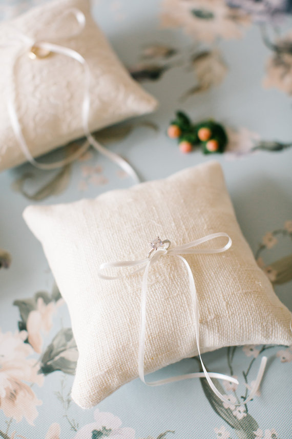 Ring Bearer Pillow Wedding Rustic Cushion Flower
