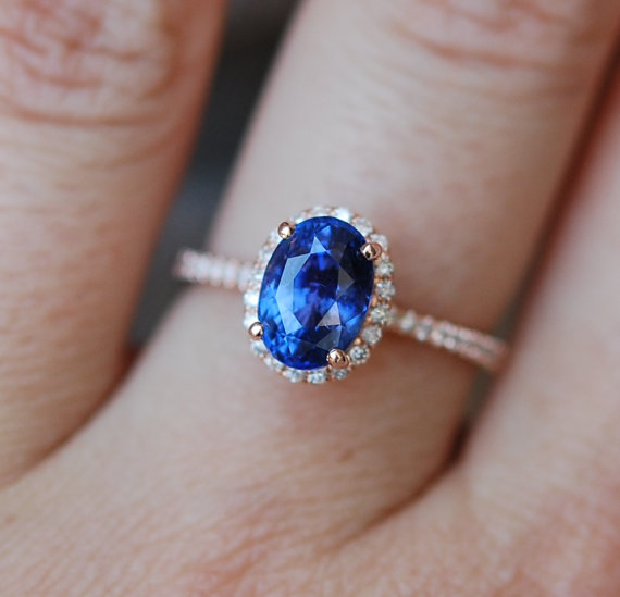 Rose Gold Sapphire Ring 254ct Royal Blue Sapphire Diamond Ring 14k