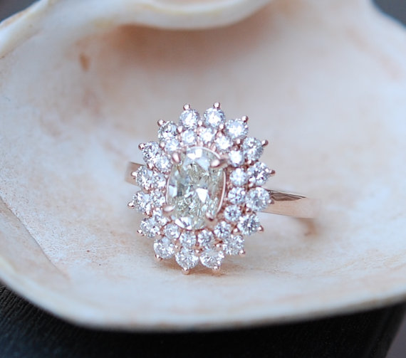 Hochzeit - Engagement ring Oval Diamond ring 1ct Champagne VS1 Rose gold ring engagement ring TDW 2ct.