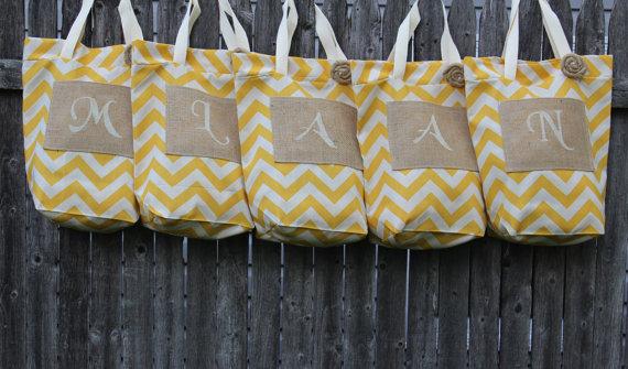 Mariage - Monogram Bags, Set Of 5 Bridesmaid Gifts, Yellow Chevron, Beach Bags