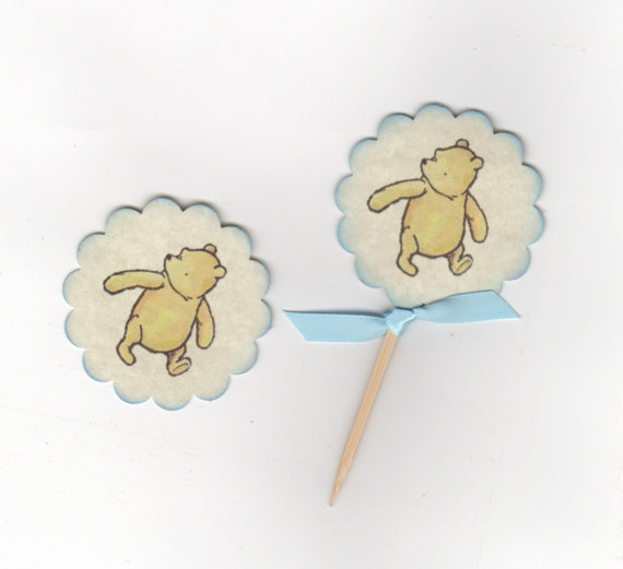 Mariage - Custom Listing For Alisson - 40 Winnie The Pooh Cupcake Toppers With 60 Matching Stickers - Vintage Inspired