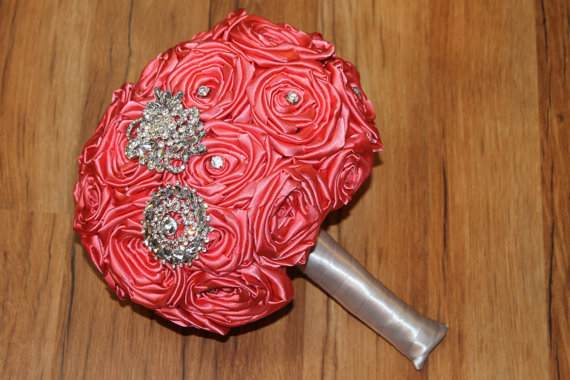 Mariage - Coral Rhinestone Brooch Bouquet, CUSTOM MADE, Coral Brooch Bouquet, Coral Bouquet, Heirloom