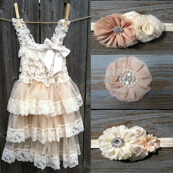 Свадьба - Flower Girl Dress -Lace Pettidress-Rustic Flower Girl-Country Flower Girl Dress- Cream-Champagne Dress-Country Wedding-With Headband