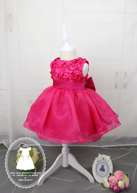 Свадьба - Hot Pink Toddler Thanksgiving Dress, Baby Christmas Dress, Baby Girl Dress for Wedding,Baby Pageant Dress,PD050-3