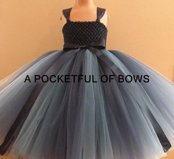 Boda - Navy Flower Girl Dress, Long Tutu Dress, Long Tulle Dress