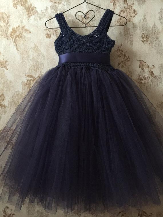 Свадьба - Navy blue flower girl tutu dress with empire waist, crochet tutu dress, baby tutu dress, toddler tutu dress, wedding tutu dress