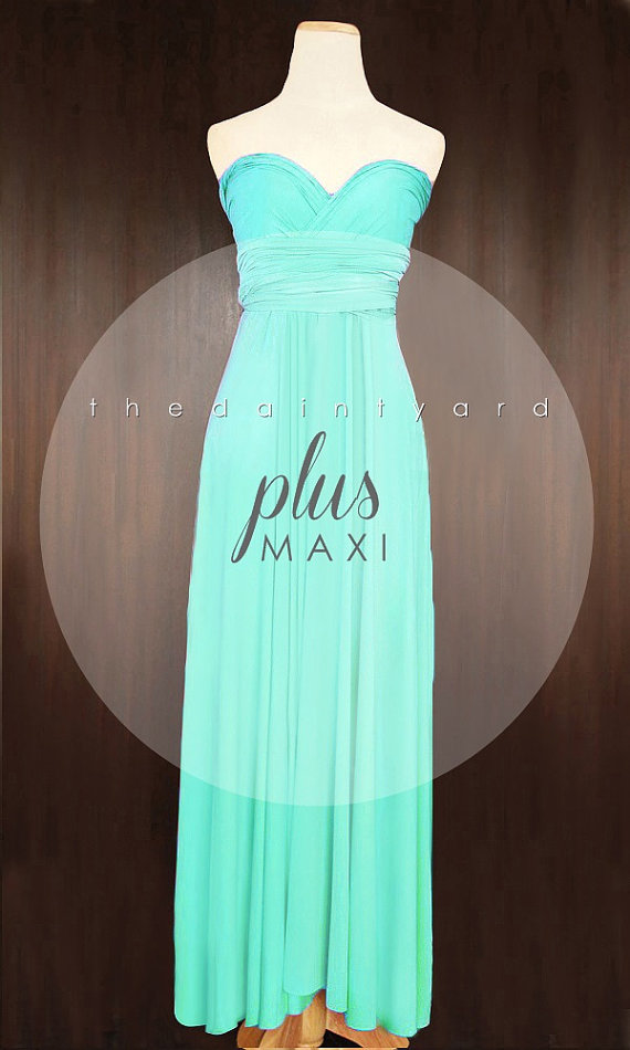 MAXI Plus Size Turquoise Bridesmaid Dress Convertible Dress Infinity ...