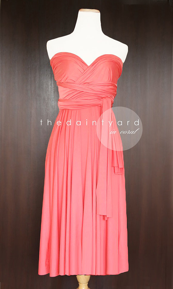 Свадьба - Short Straight Hem Coral Infinity Dress Multiway Dress Bridesmaid Dress Convertible Dress Wrap Dress Wedding Dress Maid of Honor Dress