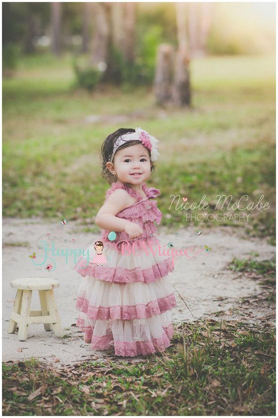 Hochzeit - Flower girl dress, Champagne Rose Chiffon lace Dress, wedding dress,baby girls dress,Birthday ,girls dress,Country Wedding, Rustic Wedding