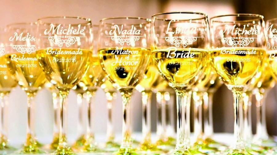 8 Personalized Bridesmaid Wine Glasses, Bridesmaids Wedding Gifts ...