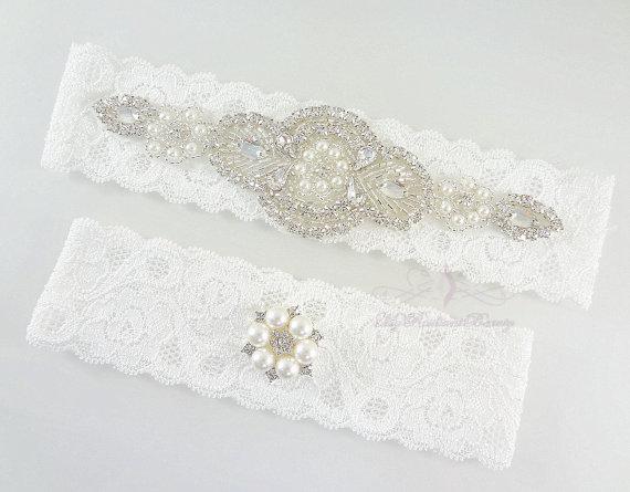 Свадьба - Bridal Garter, Personalized Garter set, Wedding Garter, Rhinestone Garter, Crystal Applique Garter, Handmade Garter, Custom Garter GTA0062