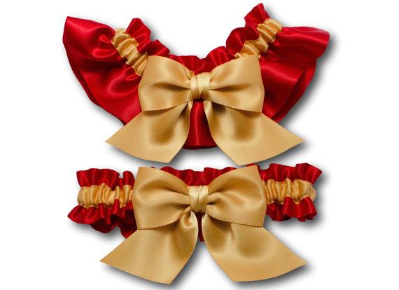 Свадьба - Wedding garters - bridal garters - red and gold garters - red satin garter - red garter set - bright red garter set - red and golden garters