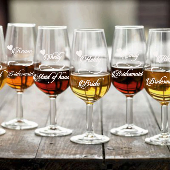 How Many Wine Glasses For Wedding Gift : Wine Glasses, Bridesmaids Wedding Gifts, Custom Engraved Wine Glasses ...
