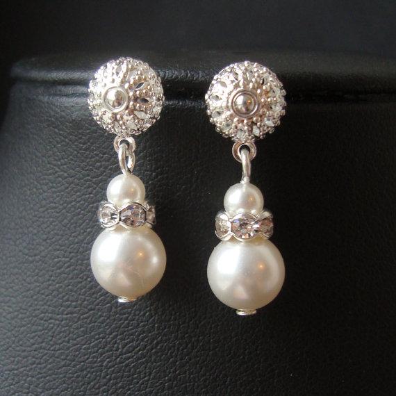 Hochzeit - SET of FIVE Pairs, Pearl and Rhinestone Bridal Earrings, Simple Bridal Jewelry, Ivory Bridal White Pearl Bridesmaid Earrings, KATE