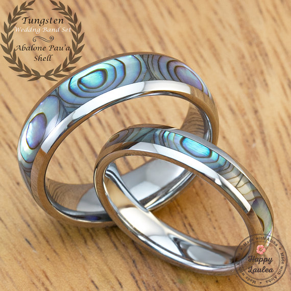 Mother Of Pearl Abalone Pau A Shell Tungsten Carbide Wedding Band