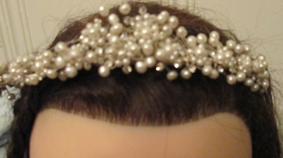 Wedding - Wedding Tiara Pearl Rhinestone / Wedding Comb / Large Gorgeous