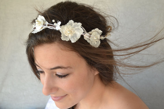 Mariage - Bridal Accessories Bohemian Wedding Hair Accessory Headband With Lace Flowers Pearls and Leaves - Handmade Wedding Accessories