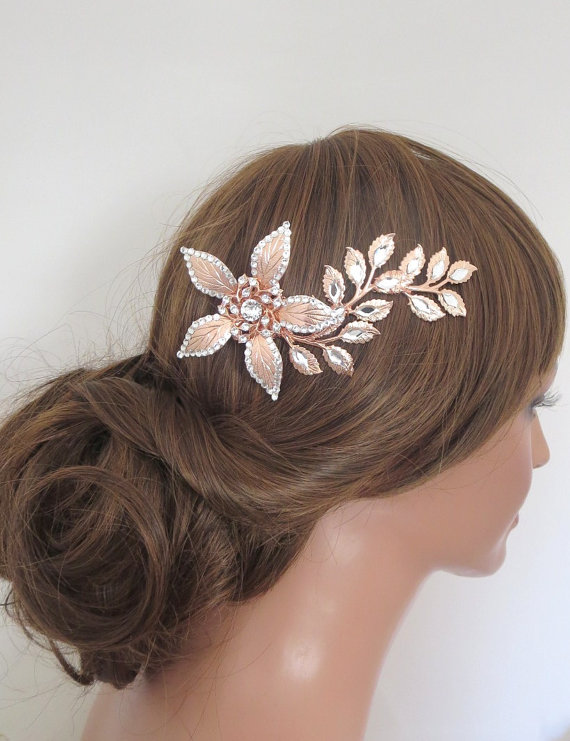 Mariage - Rose Gold hair comb, Rose gold headpiece, Rose Gold Bridal hair clip, Swarovski crystal hair comb, Vintage style, Hair accessory, Flower