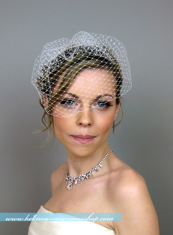 Mariage - Wedge Birdcage Veil (Free U.S. Shipping) - wedding, french veil, russian veil, ivory, white