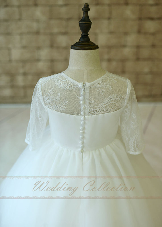 Wedding - Lace Flower Girl Dresses with Short Sleeves Tulle Skirt Sheer Neckline Birthday Party Dress