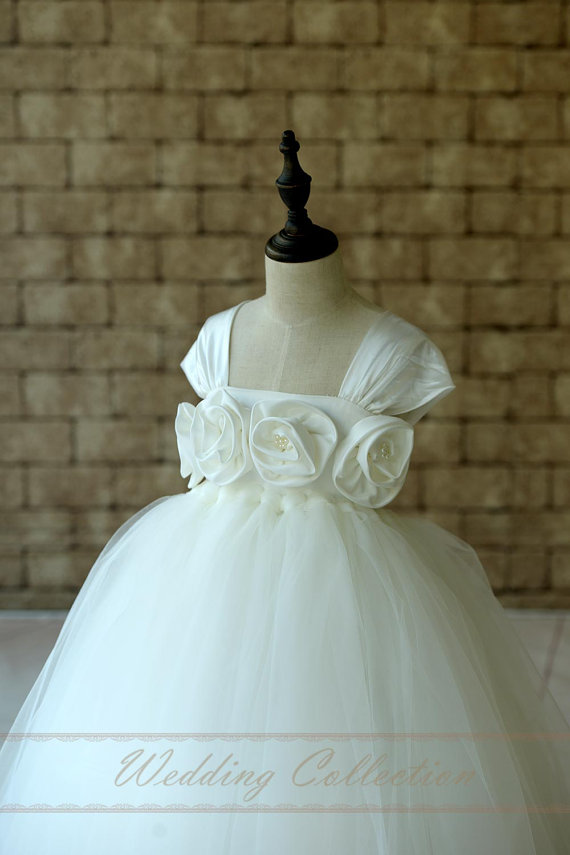 Wedding - Ivory Flower Girl Dress with Cap Sleeves Floor Length Tutu Flower Girl Dress Toddler Dress
