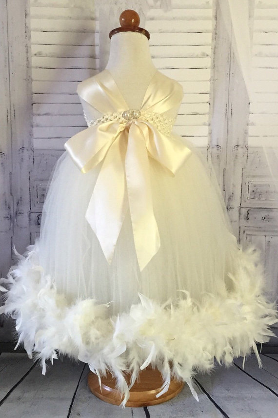 زفاف - Feather Flower Girl Dress -Baby Toddler Child Tutu Dress - Vintage Flower girl Dress- ivory flower girl dress - chiffon flower girl dress