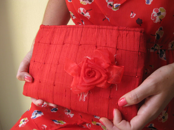 Mariage - Lipstick Red Clutch - The Lily Viola Clutch, Red silk formal clutch, beaded wedding bag, red carpet accessory, Mother of the Bride bag