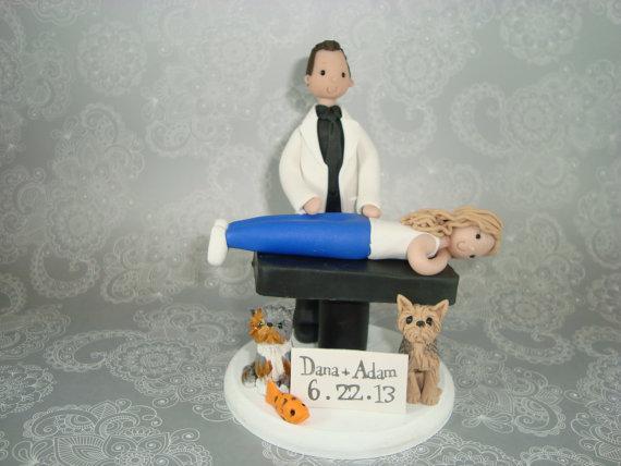 Hochzeit - Chiropractor Custom Handmade Wedding Cake Topper