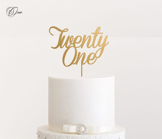 Свадьба - Twenty one cake topper by Oxee, personalized cake toppers
