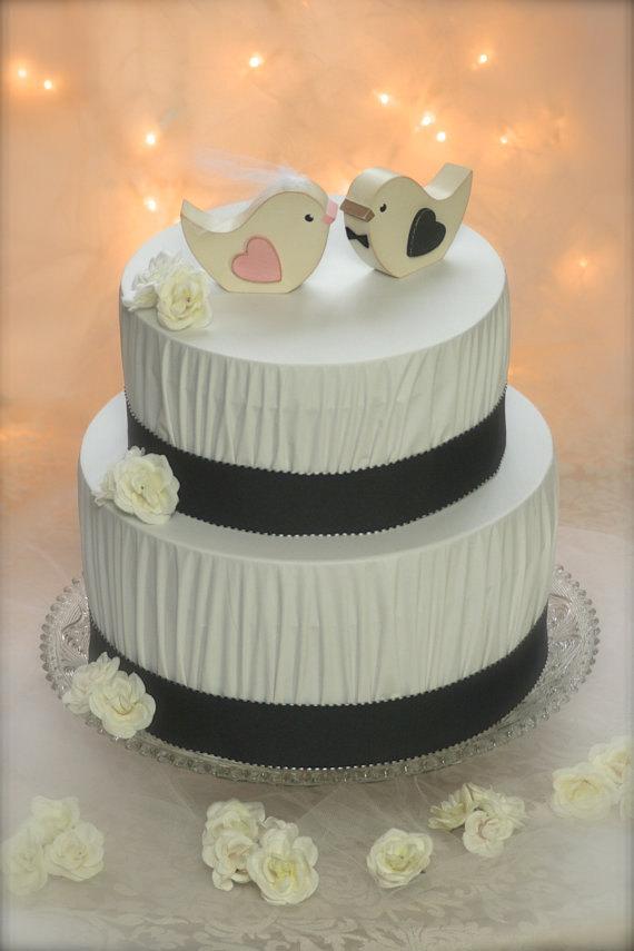 Mariage - Wedding Cake Topper Love Birds Rustic Wedding Woodland Wedding
