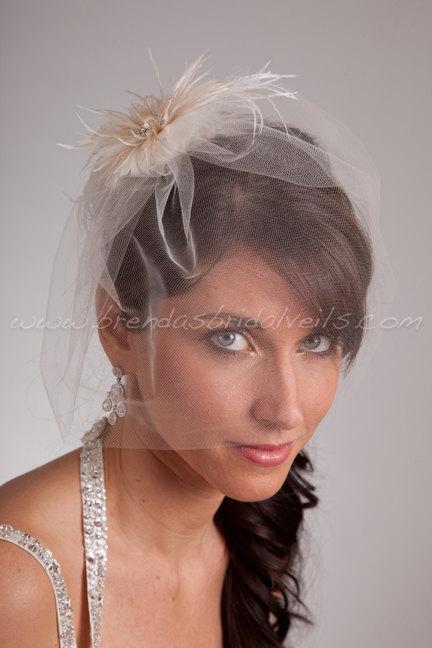 """زفاف - Bridal Veil Set, Tulle 11"""" Bridal Birdcage Veil with Feather Hair Piece, Wedding Veil and Birdcage Feather Flower"""
