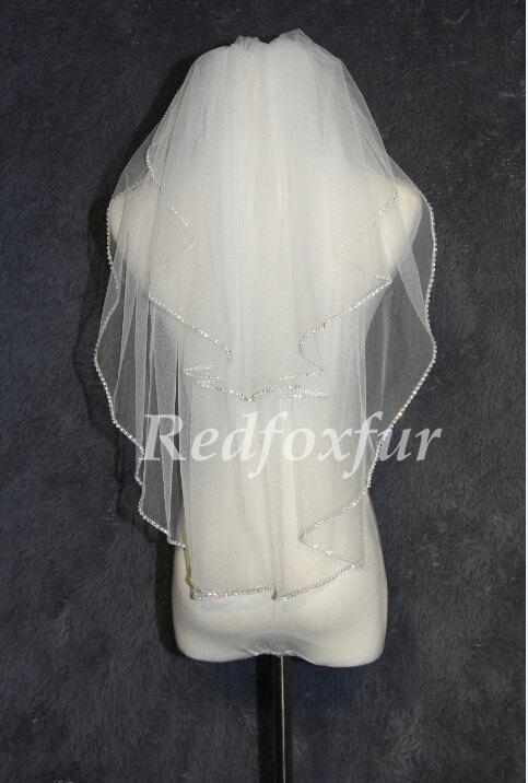 زفاف - 2T bridal veil-wedding veil - white ivory veil - sparkling diamond edge veil - Crystal + comb