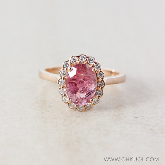 Mariage - Pink Tourmaline and Diamond Engagement Ring - Halo Setting - 10K Rose Gold