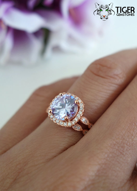 زفاف - 2.25 Carat Halo Wedding Set, Bridal, Lavender Purple, Man Made Diamond Simulants, Art Deco Engagement Ring, Sterling Silver & ROSE Gold