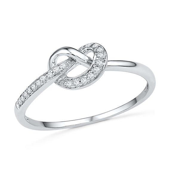 Wedding - Knot Ring, Diamond Engagement Ring Fashioned in Sterling Silver or White Gold