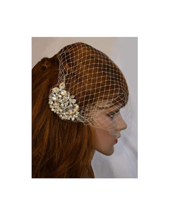Mariage - Bridal Comb Birdcage Veil, Swarovski Comb and Birdcage Veil, Blusher Face Veil, Wedding Leaf Comb, Bridal Hair Accessory, Crystal Veil