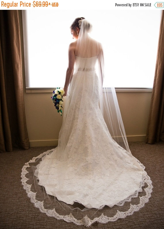 Ivory Cathedral Length Lace Veil Beaded French Alencon Lace Wedding Veil Off White Bridal Veil