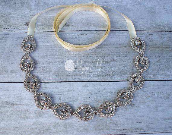 Mariage - Victoria Teardrop Rhinestone Silver Tie-back Headband, Wedding Headband, Bridal Headband, Prom Headband, Wedding Headpiece, Bridal Headpiece